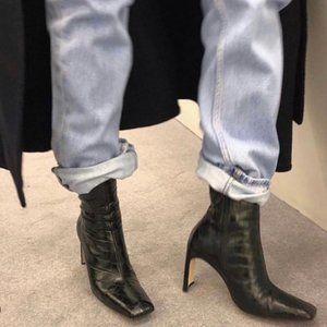 Marcelle Black Croc Leather Boots